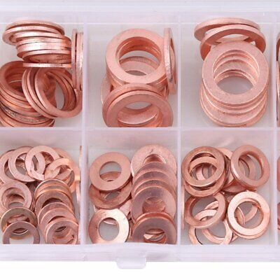 200PCSAssorted Solid Brass Crush Washers Seal Flat Ring Kit M 5 6 8 10 12 14