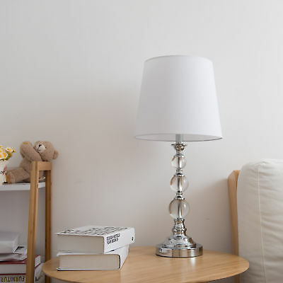 Set of 2 Table Lamp Stacked Crystal Ball White Fabric Shade w/Iron Prop & Base