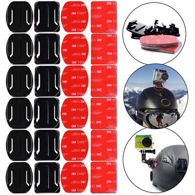 12PCS Flat Curved 3M Adhesive Mount Helmet Accessories for Gopro Hero 3 3+ 4 5 ♫