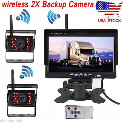 "Wireless 7"" Monitor for RV Truck Bus + 170° Rear View 2x Camera Night Vision Kit"