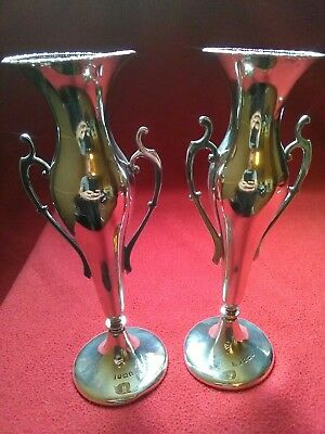 Beautiful Pair Of Solid Silver Art Nouveau Vases Hallmarked Birmingham 1910...