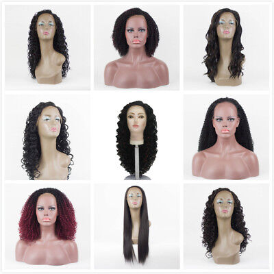 Women Curly Straight Full Wig Lace Front Synthetic Hair Wig Heat Resistant S/M/L