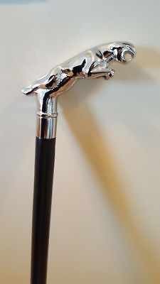 New king Style Solid Brass Head Jaguar Black Cane Wooden Walking Stick Canes