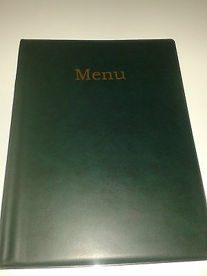 Qty 12 A4 MENU HOLDER/COVER/FOLDER IN GREEN LEATHER LOOK PVC