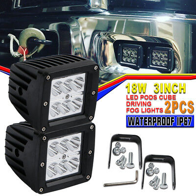 2X3INCH 18W Square LED WORK LIGHT BAR Spot OFFROAD DRIVING FOG LAMP Jeep GMC 12V