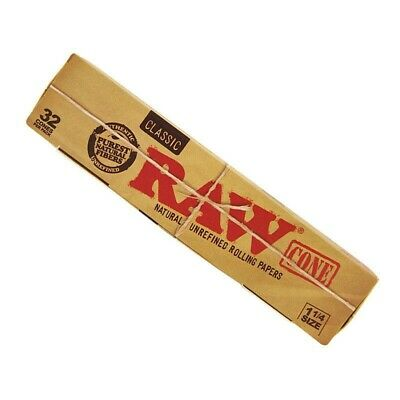 1 Pack Of 32 Pcs RAW Classic Hemp Medium 1 1/4 Pre Rolled Cones Rolling Paper