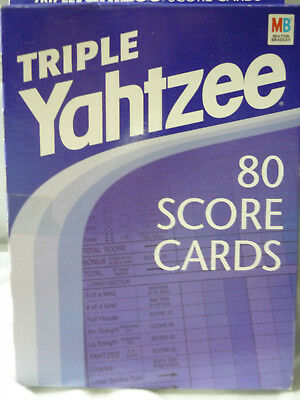 Vintage Triple Yahtzee 80 Score Cards (1-Pad) in Box Milton Bradley Dice Game