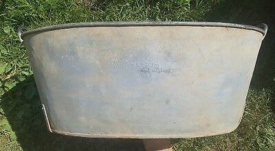 Stamped vintage galvanised tin trough bath planter 1940s