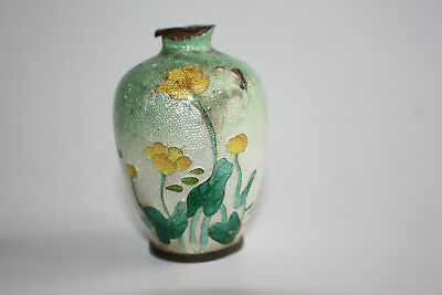 Antique Japanese Bronze Cloisonne Enamel Mini Vase - Marks