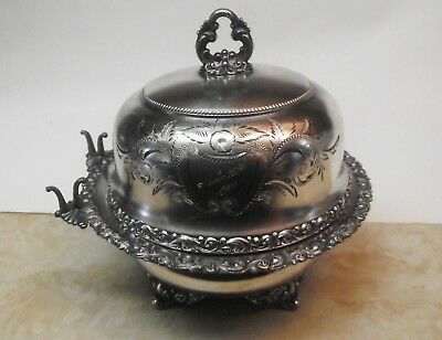 Antique Meriden Silver Plated Lidded Butter Dish Engraved Repousse Flower