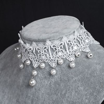 Short Fashion White Pearl Bride Lace Collar Choker Necklace Gothic