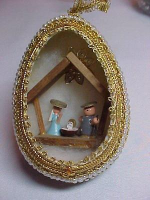 Nativity with Pearls Diorama Egg Vintage  Beads Sequins Fauxberge Xmas Ornament