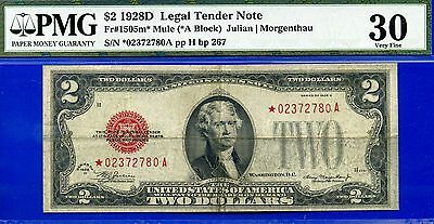 *FR-1505m* 1928-D $2 US Note (( Mule STAR )) PMG Very-Fine 30  # *02372780A