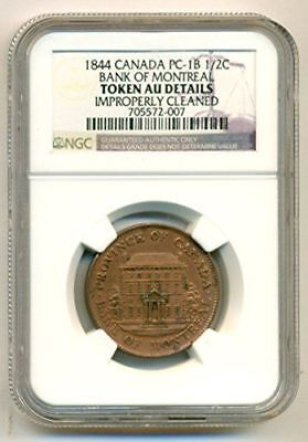 Canada 1844 Bank of Montreal Token 1/2 Penny PC-1B AU Details NGC