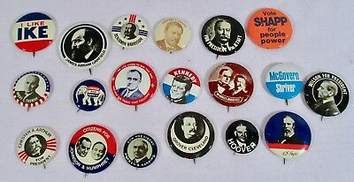 Lot of 19 Political Presidential Campaign Buttons Pins 1900s  Reproductions