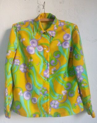 Vtg 70s sz M / 40 psychedelic bright floral mod print long sleeve top hippie
