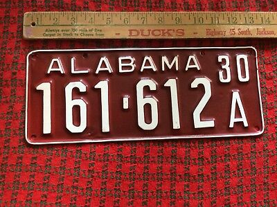 1930 Alabama License Plate 161-612A Older RePaint