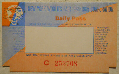 1964-1965 Worlds Fair (Flushing, New York City) Unused Daily Pass