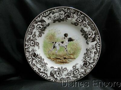 """Spode Woodland Flat Coat Pointer Hunting Dog: Dinner Plate, 10 3/4"""" NEW w/ Box"""