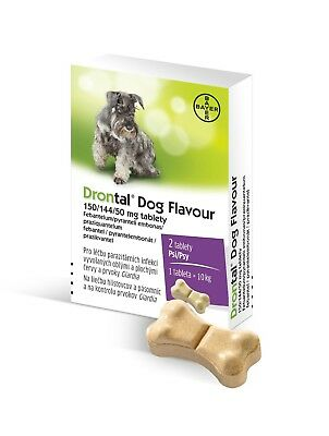 Bayer Drontal Dog Flavour 150/144/50 anti worms medicine meat flavor 2 tablets