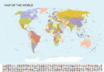 World Map A0 Large Wall Chart Flags High Quality Colour 841mm x 1189mm XXL