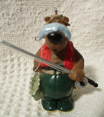 Christmas Hallmark Ornament Catch Of The Day 1997 Fisherman Bear Fish on Nose