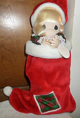New w/Tag 1997 Precious Moments Stocking Doll Jingles Christmas Red Velvet Sock
