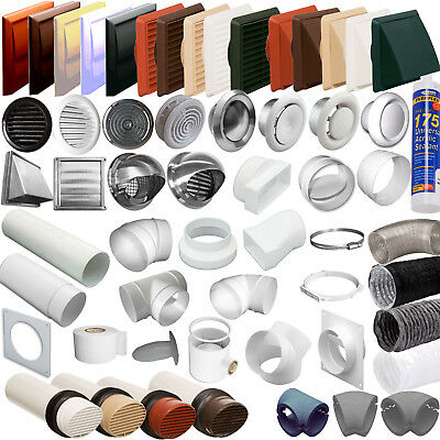 "MEGA LIST 4"" 100mm ROUND TUBE EXTRACTOR VENTILATION DUCTING- PIPE VENT FITTINGS"