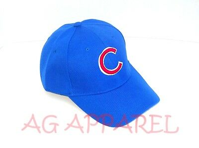 Chicago Cubs Hat Cap One Size CHI Curved Bill Adjustable Blue New!!