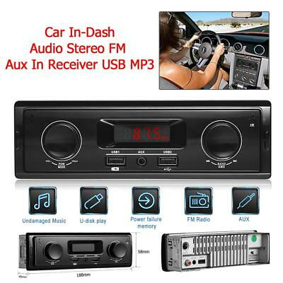 1 Din Dual Knob In Dash Car Stereo MP3 Audio Player FM Radio AUX-in USB Receiver