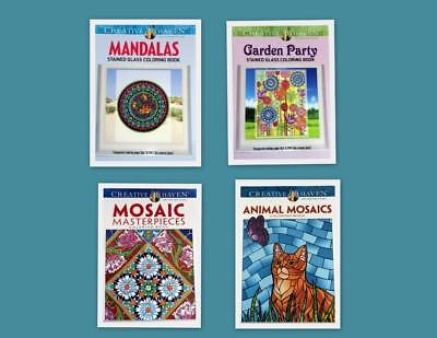 Adult Coloring Books Lot of 4 New Creative Haven Stain Glass Mosaics + More #20