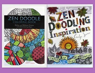 Adult Coloring Book Lot of 2 Zen Doodling Coloring- Zen Doodling Inspiration #14