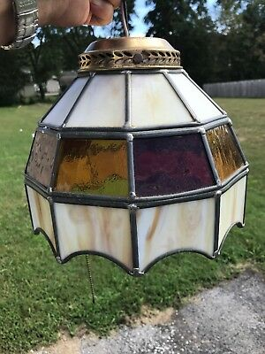 """Stained Leaded Glass CEILING LIGHT FIXTURE 9 1/2"""" Diameter Pull Chain"""