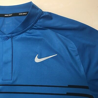 f6f66ee2 NEW Nike Golf Dri Fit TW Tiger Woods Cooling Graph Polo Blue Black 892317  465