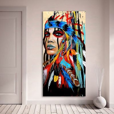 Indian Woman Feathered Pride Portrait Canvas Painting Wall Art Picture Home Deco