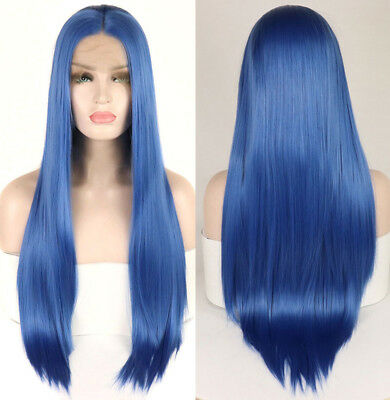 "AU 24"" GlueLess Lace Front Wig Heat Resistant Hair Women Straight Blue Cosplay"