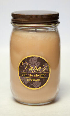 Papa's Candle Shoppe Very Vanilla 16oz Mason Jar, Highly Scented Soy Wax Candle!