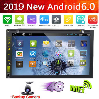 """7"""" Android 6.0 Touchscreen 2Din Car DVD Player GPS Radio Wifi 4G Stereo+Camera"""