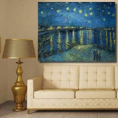 Starry Night Over The Rhone By Vincent Van Gogh Print Canvas Oil Painting New