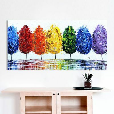 Frameless For Rainbow Tree Canvas Oil Painting Wall Art Pictures For Home Decor