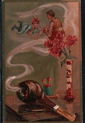 1909 Tuck's PIPE DREAMS  Vintage Fantasy Postcard
