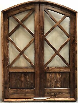"""Rustic reclaimed lumber ARCHED TOP Double Door 2""""  U choose dimension Glass top"""