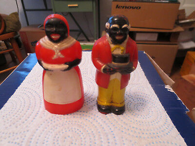 Vintage 1940's Aunt Jemima and Uncle Mose salt and pepper shakers   B