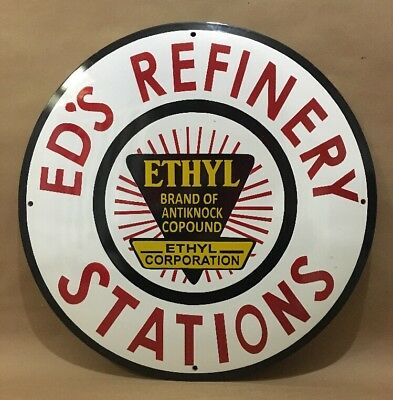 Ed's Refinery Station Porcelain Sign gasoline oil gas pump can tire