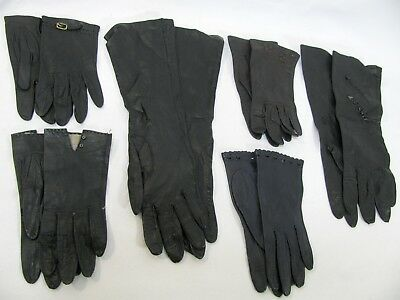 Variety Black Leather Gloves Lot Of 6 Pairs Womens Vintage