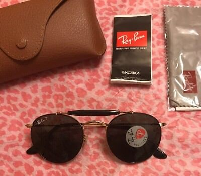 7e1e4b0542 New  223 Ray-Ban Round Sunglasses RB3747 9000 58 Gold Metal POLARIZED Lens  50