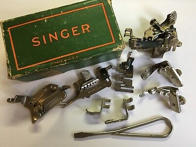 Vintage Singer Featherweight Sewing Machine Attachments Box 254559 10 pieces
