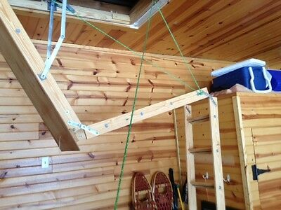 Attic Ladder Pulley System for Wood /Alumimum Ladders, 8'-10'-12' ceil