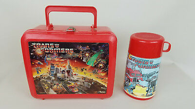 Transformers - Red Plastic Lunchbox w/ Thermos 1986 Aladdin