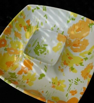 Vintage Flowered Serving Bowl Mid-Century Fiberglass Orange Chartreuse Yellow